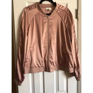 Plus Forever21 Baby Pink Satin Bomber Jacket